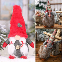 Merry Christmas Drop Ornaments Pendant  Long Hat Santa Gnome Plush Doll Ornament Xmas Tree Decor