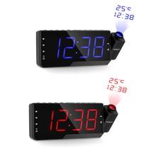דיגיטלי מקרן שעון מעורר FM רדיו LED זמן שעון נודניק טיימר טמפרטורת USB תשלום כבל שולחן קיר זמן הקרנת שעון