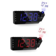 Projektor cyfrowy budzik Radio FM zegar LED drzemka zegar temperatura ładowarka z kablem usb na stół i ścianę zegar z projektorem