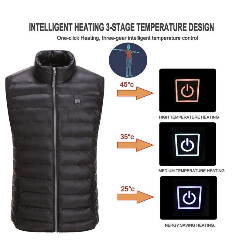 Outdoor Heating Vest USB Smart Fever Heated Warm Vest Washable Thermal Warm Waistcoat Winter Electric Camping Hiking Vest Jacket