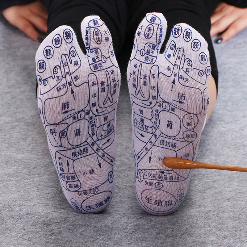1pair Acupoint Massage Socks Cotton Illustration Acupuncture Points Socks Health Care Socks Comfortable And Breathable Massager