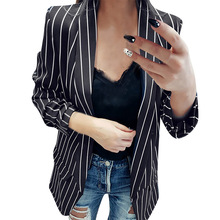 Goocheer 2019 Autumn Slim Women Formal Jackets Office Work Open Front Notched Ladies Blazer Coat Hot Fashion Striped