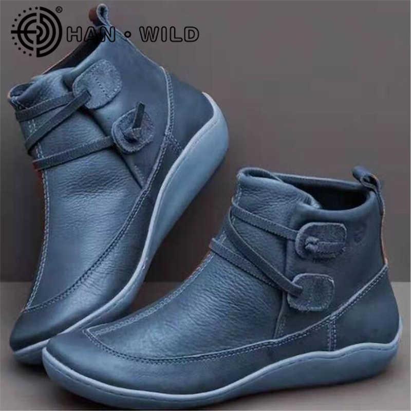 2020 נשים Socofy עור קרסול מגפי נשים נוח להחליק על נעלי סתיו חורף גבירותיי שטוח נעליים בתוספת גודל 43