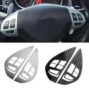 Botão de controle cruzeiro de áudio interruptor do volante botão adesivo capa guarnição para mitsubishi asx lancer outlander rvr pajero esporte