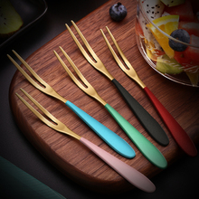 Kunzhan 5/10 Pcs Fruit Fork Set 304 Stainless Steel Home Cartoon Multi Color Small Fork Tableware