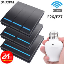 SMATRUL 1/2/3 gang smart push Wireless Switch Light bulb E26 E27 Lamp holder 433Mhz RF Remote Control Wall Panel home 110V 220V(China)