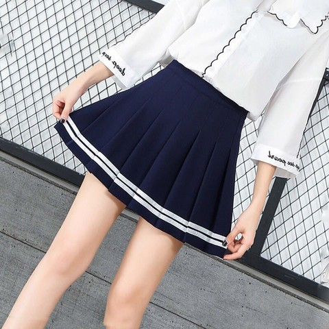 Women high waist Cosplay skirt 2019 Spring summer kawaii Denim solid a-line sailor Skirts Japanese school uniform Mini Skirts Karachi