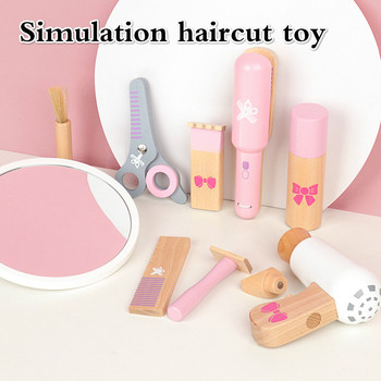 New Product Children's Wooden Simulation Hairdressing Bag Set Toy Children's Play House Fun Educational Early Education Toys rosana puzzle wooden magnetic fashion play dress up toy clothes cute boy girl games toys fun early education 63pcs gift set