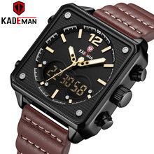 KADEMAN Men Watches New Sport Luxury Square Watch 3ATM TOP Quality Outdoor Military Male Wristwatch Casual Leather Clock Relogio(China)