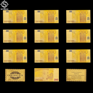 10PCS Bank Note 200 Euro Color Banknotes 24KT 99.9% Gold Fake Banknote Currency