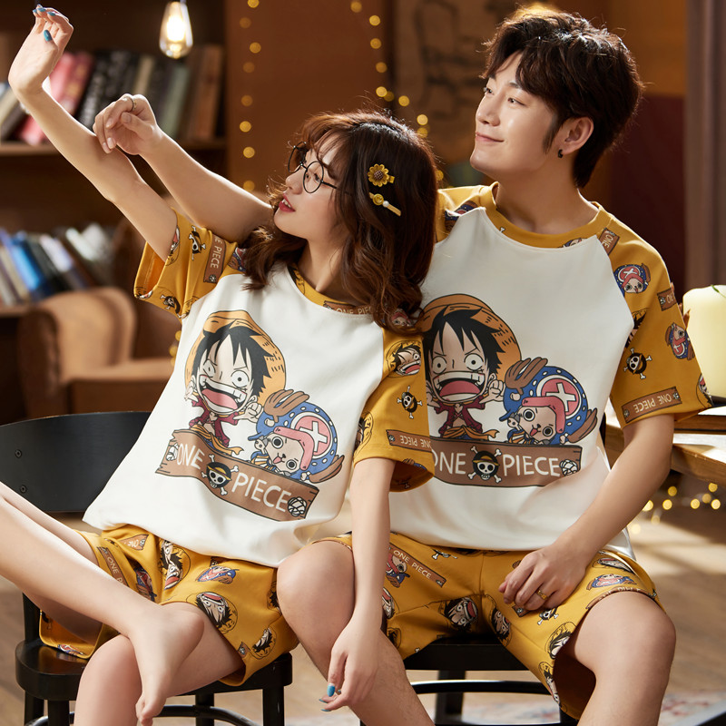 Милая мультяшная цельная Обезьяна D. Парные пижамы Luffy, хлопковые пижамы, летняя Домашняя одежда с коротким рукавом для влюбленных, повседне...