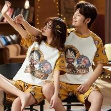 Macaco bonito dos desenhos animados de uma peça d. Luffy casal pijamas conjunto algodão pijamas verão manga curta homewear para o amante sleepwear casual