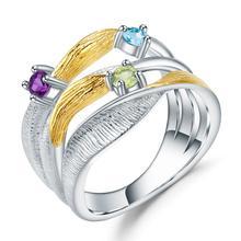 GEMS balet 925 srebro ręcznie robiony pasek Twist pierścienie naturalne Peridot ametyst Topaz kamienie pierścień dla kobiet Bijoux