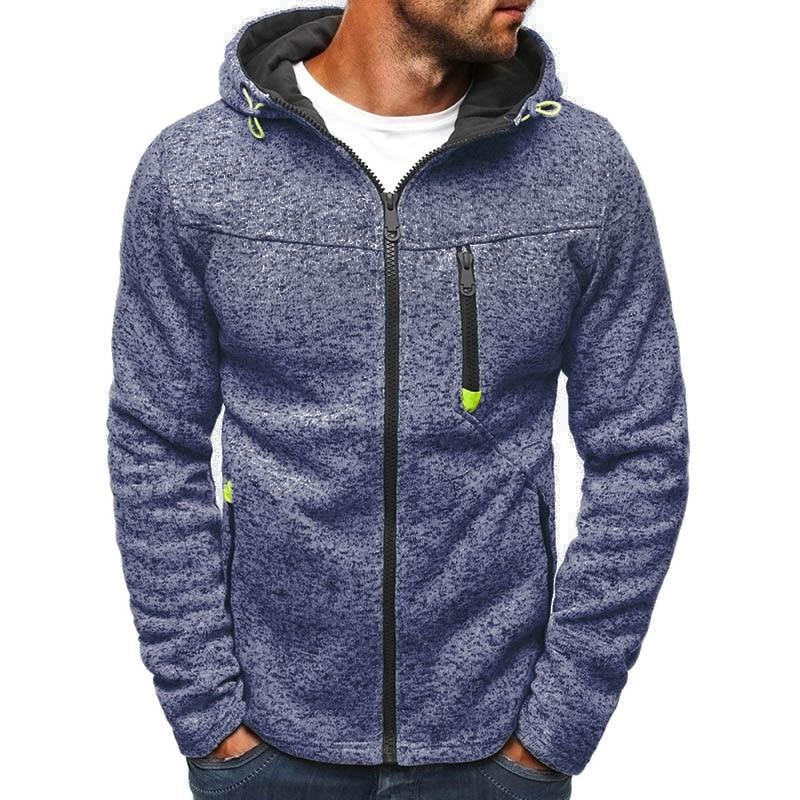 Men Winter Slim Zipper Hoodie Warm Hooded Sweatshirt Coat Jacket Outwear Sweater