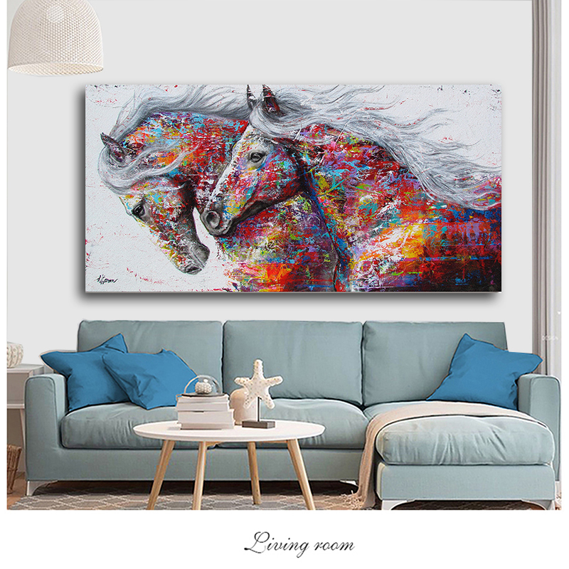 Hd4e116bba01a4b3fac41cc93c4bde15cX SELFLESSLY Animal Art Two Running Horses Canvas Painting Wall Art Pictures For Living Room Modern Abstract Art Prints Posters
