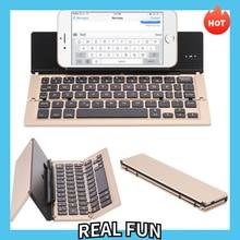 Three Fold Metal Bluetooth Keyboard Ultra Thin Fold Wireless Keyboard with Bracket Mobile Phone Tablet Computer Keyboard