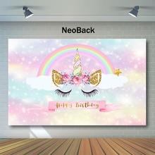 NeoBack Closed Eye Unicorn Backdrop Rainbow Birthday Photography Backdrops Shiny Pink Child Photo Background