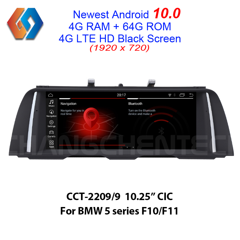 Android 10 64G Multimedia Car Screen for BMW 5 Series F10 F11 CIC 1920x720 HD Black Touch Car Radio Built-in CarPlay WiFi BT GPS image