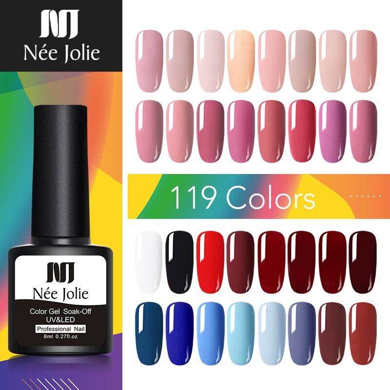 NEE JOLIE 8ml Gel Nail Polish Sweet Colorful One-shot Long Lasting Soak Off UV Gel Varnish Nail Art DIY Design Decoration Gel