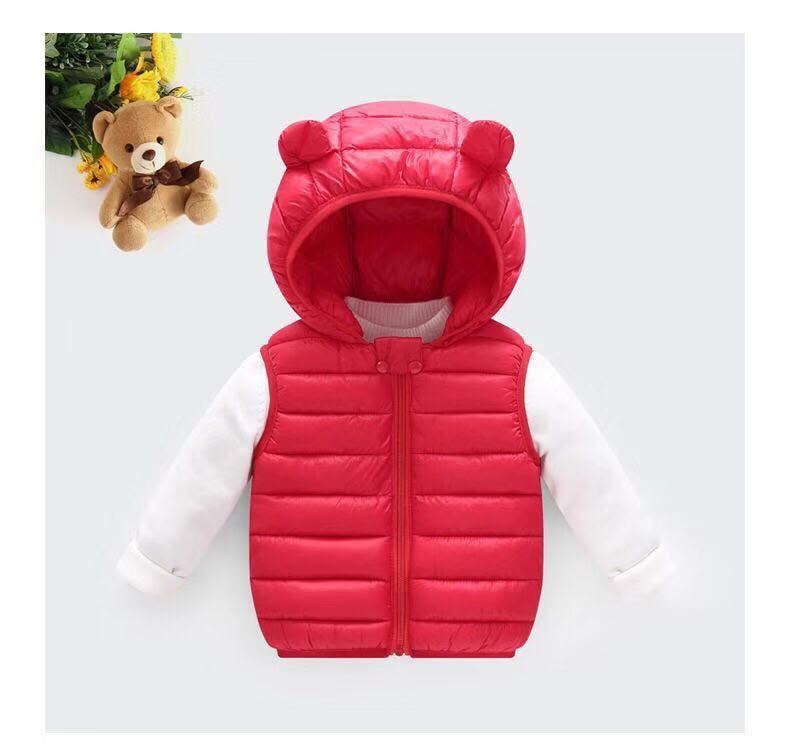 Одежда для маленьких девочек; зимнее Детское пальто; светильник с капюшоном; однотонная хлопковая верхняя одежда; жилет для малышей; одежда для маленьких мальчиков - Цвет: Красный
