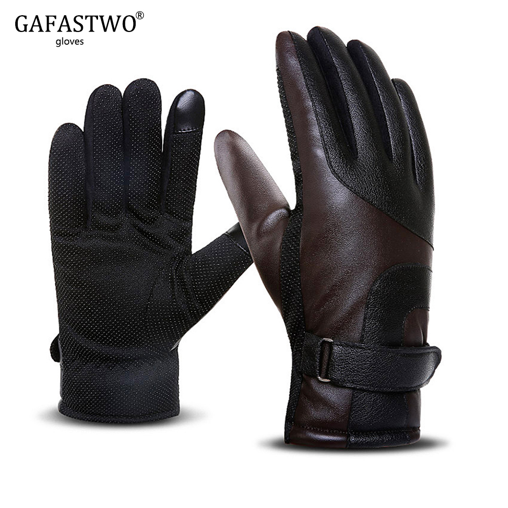 Winter Thickening Plus Velvet Windproof Warm Leather Gloves Men'S Touch Screen Outdoor Non-Slip Sports Riding Waterproof Gloves