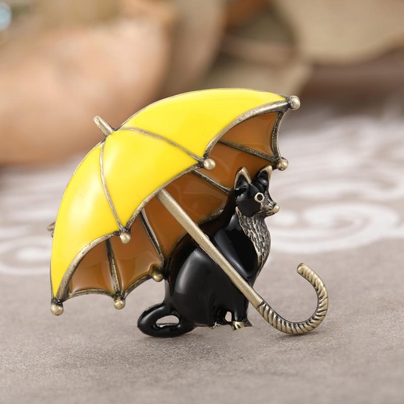 Женская эмалированная брошка Blucome, в форме зонтика и черных кошек, в античном золотистом стиле, повседневные, вечерние, яркие, в виде животных