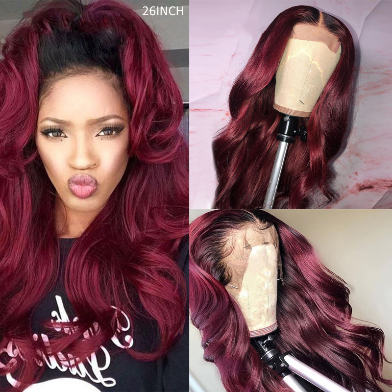 Brazilian Ombre 99J Red Lace Wigs With Baby Hair Pre Plucked Body Wave 13x4 Lace Front Wigs For Women 150% Remy Hair Wig KEMY
