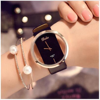 Hot Fashion Women Watch Luxury Leather Skeleton Strap Watch Women Dress Watch Casual Ladies Watch Reloj Mujer reloj