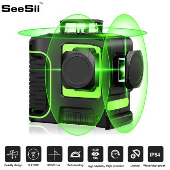 SeeSii 12Lines 3D Green Laser Level 18650 Lithium Batteries Self-Leveling Horizontal&Vertical Cross Lines Can Use Receiver