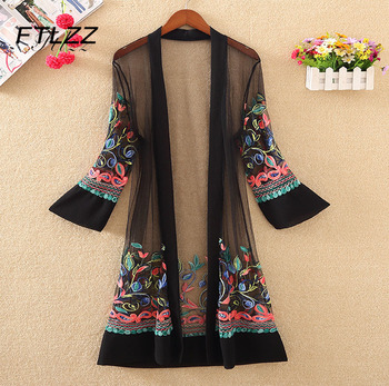 New Women Floral Embroidered Long Jacket Summer Net Cardigan Casual Long Sleeved Thin Coats Ladies Vintage Beach White Outerwear 1