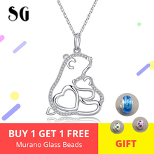 925 Sterling Silver Cute Animal Bear Mom and Baby Pendant Necklaces With White CZ Fashion Silver Jewelry For Girl Gift ztung gop9 for us fashion ziron flowers pendant send with white and blue material 925 silver chian for women wonderful gift
