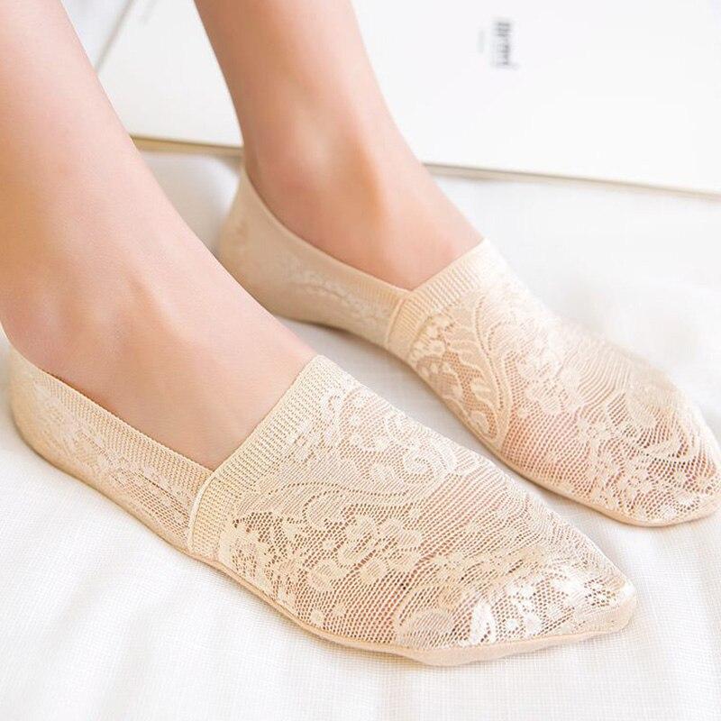 1/2 Pairs Ankle Women Socks Fashion Girls Summer New Style Lace Flower Short Socks Antiskid Invisible 2019  Sock Slippers