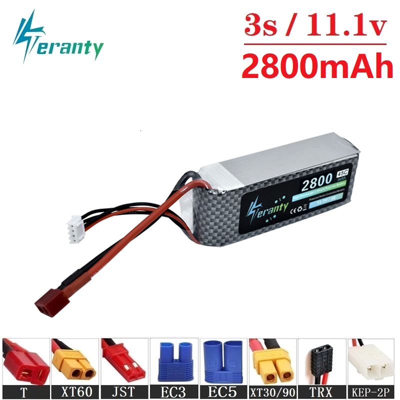Teranty Power 11.1v 2800maH 45C <font><b>Lipo</b></font> Batterry For RC Drone Boat Quodcopter Spare Part <font><b>3s</b></font> <font><b>2200mah</b></font> 11.1v Rechargeable battery 1pcs image