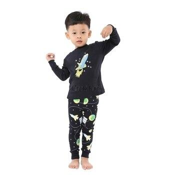 100 Cotton Boys and Girls Long Sleeve Pajamas Sets Children's Sleepwear Kids Christmas Pijamas Infantil Homewear Nightwear - PW005, 7