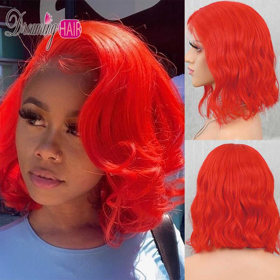 13x6 короткий боб Синтетические волосы на кружеве парики из натуральных волос на кружевной Цветной девственные волосы парики предварительно вырезанные 613 блондинка красного/розового/голубого цвета для оранжевые парики из натуральных волос