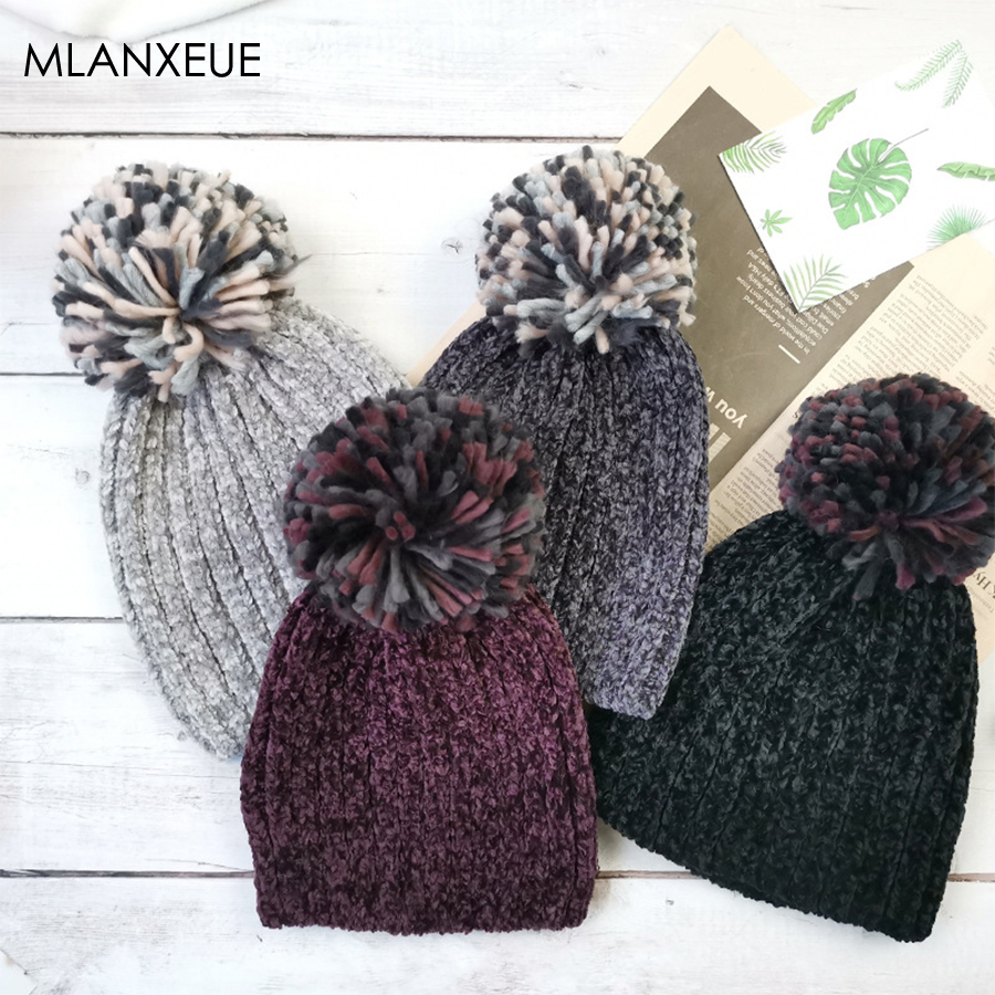 Faux Fur Pompom Chenille Winter Hats Women Solid Keep Warm Knitted Wool Beanie Hat Girl Soft Hemming Hat Female Cap Bonnet Femme