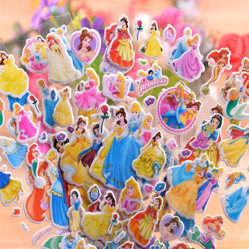 6-12 шт./компл. Disney toy sticker Disney Princess Frozen little pony Микки Pixar машина София мультфильм 3D наклейки Девушки Наклейки для мальчика