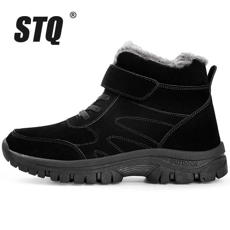 STQ kış kadın kar botları ayakkabı sıcak kürk peluş yarım çizmeler bayanlar platformu deri ayakkabı kadın kış yarım çizmeler 1807