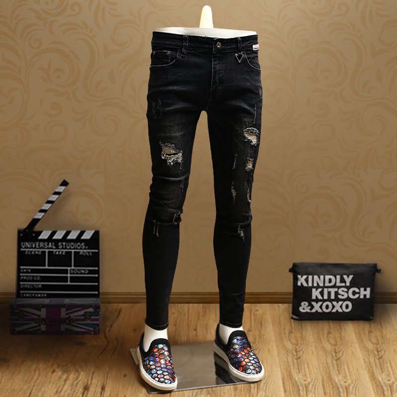 Casual Mens Skinny Ripped Jeans Black Denim Pants Jean For Streetwear Cowboys Men PSMJ70
