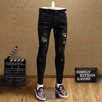 цена на Casual Mens Skinny Ripped Jeans Black Denim Pants Jean for Streetwear Cowboys Men PSMJ70