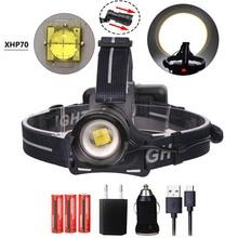 XHP70 superbright  LED Headlight 45000Lum Led Headlamps Zoom Head Lamp Flashlight Torch Lantern Head light use 3*18650 battery