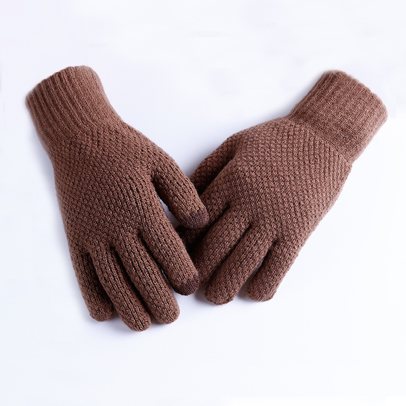 2019 Fashion Winter Warm Stretch Knitted Gloves For Men Thickened Full Fingers Touch Screen Gloves Brown Black Mittens Guantes