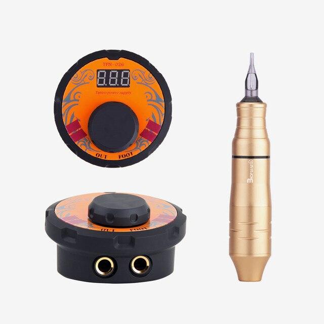 Biomaser dövme güç kaynağı kiti döner kalem kartuşları ile dövme makinesi seti profesyonel ayarlamak gerilim güç kaynakları araçları