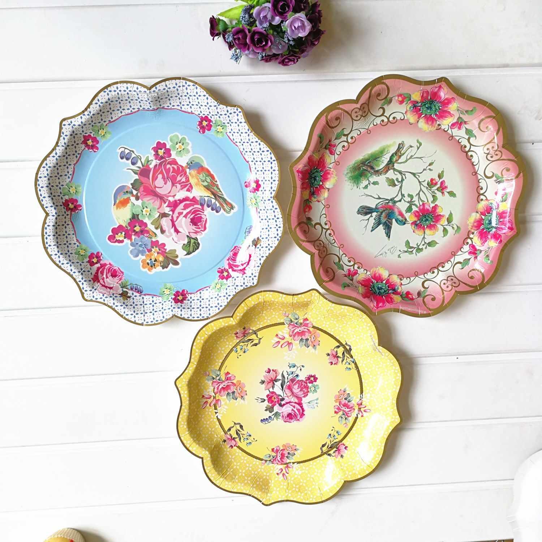 Retroดอกไม้สไตล์จีนสีฟ้าและสีขาวกระดาษแผ่นพรรคแต่งงานลูกไม้จานทิ้ง 1PCผ้าปูโต๊ะ