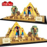 World Famous Architecture Egyptian Pyramids Eiffel Tower London Twin Bridge Model Building Blocks Bricks Toys for Children Kids
