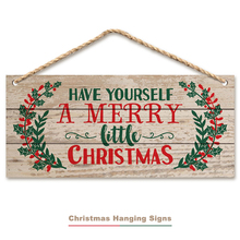 OUYXR 20CM Plank Christmas Ornaments Door Hanging Sign Xmas little Holly Wooden Decorations For Home