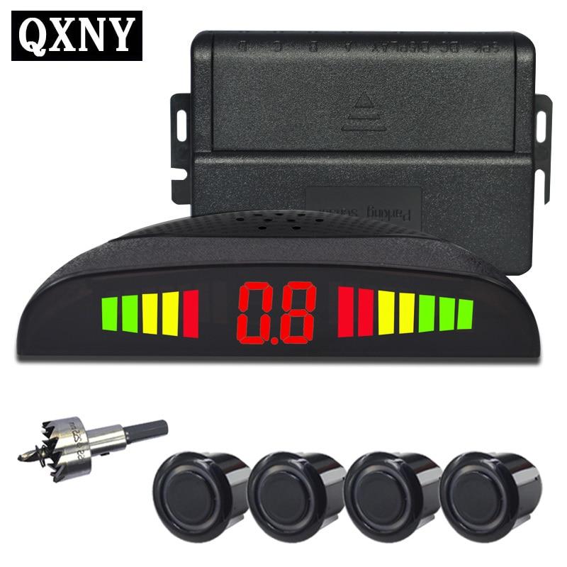 Car Parking Sensor Kit With 4 Sensors Led Display Detector Security Alert System Accessories Voice Reverse Backup Radar Monitor