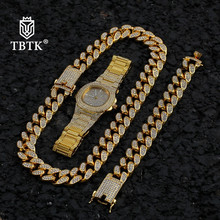 TBTK Bling 20mm Miami Cuban Link Chain And Bracelet Watch Jewelry Full Iced Out Rhinestones Fashion Hiphop Necklace