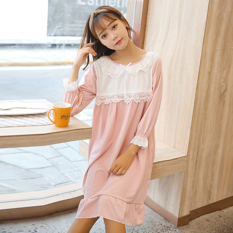 Women's Sleepwear Female Summer Lace Pink Nightgown Female Summer Cotton Princess Style Korean-style Loose-Fit Court-Outerwear T