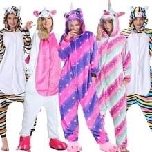 Kigurumi Unicorn Pajama Adult Animal Stitch Onesie Boys Girls Women Men  Couple 2019 Winter Suit Sleepwear Flannel Pijama